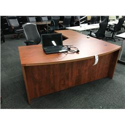 AUTUMN MAPLE 6X7' BOW FRONT  L-SHAPED EXECUTIVE DESK