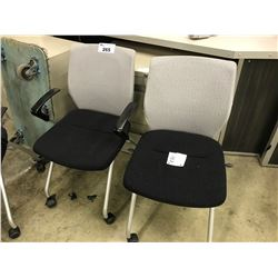3 BLACK AND GREY MOBILE TASK CHAIRS