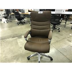 BROWN TUFTED HI-BACK EXECUTIVE CHAIR