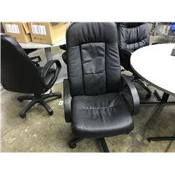 BLACK LEATHER HI-BACK EXECUTIVE CHAIR (S2)