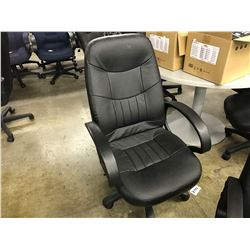 BLACK LEATHER HI-BACK EXECUTIVE CHAIR (S3)