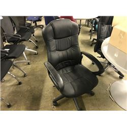 BLACK LEATHER HI-BACK EXECUTIVE CHAIR (S4)