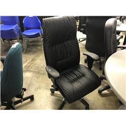 BLACK LEATHER HI-BACK EXECUTIVE CHAIR (S7)