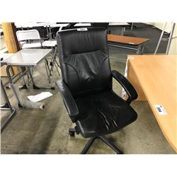 BLACK LEATHER HI-BACK EXECUTIVE CHAIR (S8)