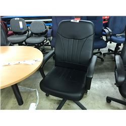 BLACK LEATHER HI-BACK EXECUTIVE CHAIR (S9)