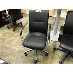 BLACK LEATHER MID-BACK EXECUTIVE CHAIR (S2)