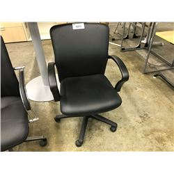 BLACK LEATHER MID-BACK EXECUTIVE CHAIR (S3)