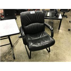 BLACK LEATHER SLED BASE ARM CHAIR