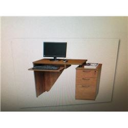 ALNAIR 48  CHERRY TIERED SINGLE PEDESTAL DESK (RTA)