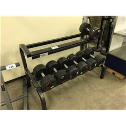 WEIGHT RACK INCLUDES 7 DUMB BELLS