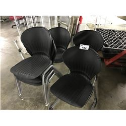 6 BLACK PLASTIC STACKING CHAIRS