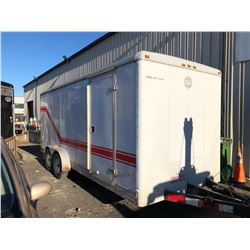 1998 WELLSCARGO 20FT WORK TRAILER, DUAL AXLE, WHITE, VIN # 1WC200J22W4034593