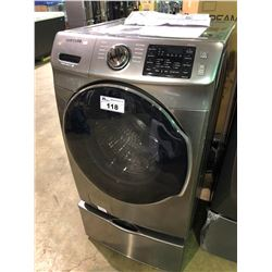 GREY SAMSUNG STEAM VRT PLUS  WF45M5500AP FRONT LOADING WASHING MACHINE WITH MATCHING PEDESTAL
