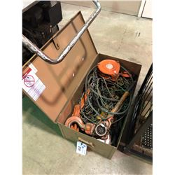 METAL TOOL BOX WITH COME A LONG AND CHAIN HOIST CONTENTS