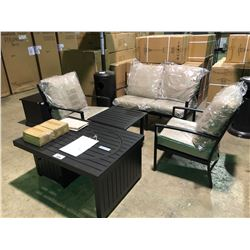 (BOXED)BROWN PARAMOUNT 5 PIECE PATIO CONERSATION SET INCLUDES LOVE SEAT, 2 CHAIRS, BEVERAGE