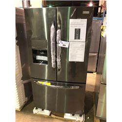 FRIGIDAIRE FGHB2868TD BLACK STAINLESS FRENCH DOOR FRIDGE WITH ROLL OUT FREEZER , AND WATER AND ICE