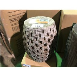 (BOXED)WHITE WASH MAYA GARDEN STOOL 12095U-WH