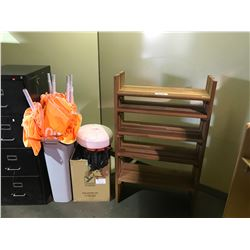 5 TIER BOOKCASE, UMBRELLAS, BASE, BOX OF BAGS, CHILDS COAT AND BOOT RACK