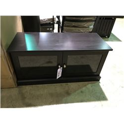 DARK STAINED GLASS FRONT 2 DOOR TV CONSOLE