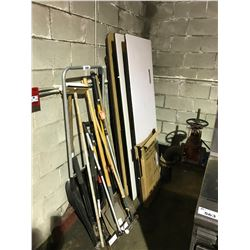 ASSORTMENT OF GARDEN TOOLS, AND FOLDING TABLES