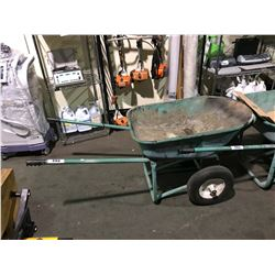 GREEN HEAVY DUTY DUAL WHEEL WHEELBARROW