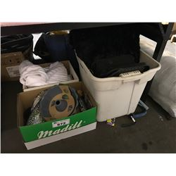 3 BOXES OF MISC DISHWARE, AND LINENS