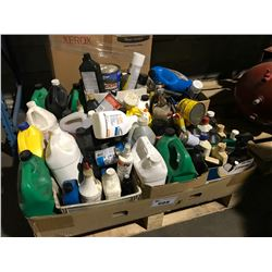 PALLET OF ASSORTED SOLVENTS, CAR CLEANING PRODUCTS, OILS