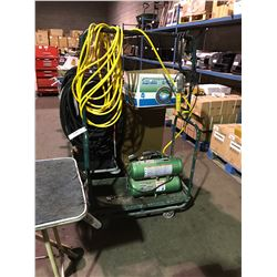 SPEEDAIRE DUAL TANK AIR COMPRESSOR WITH HOSES ON MOBILE CART