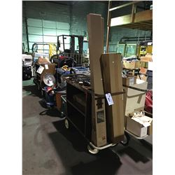 MOBILE JANITORIAL CART WITH CONTENTS
