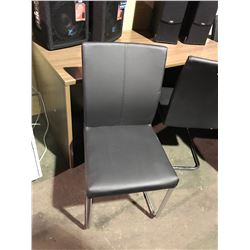 BLACK LEATHER METAL FRAMED CLIENT CHAIR