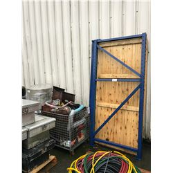 PALLET RACKING, SHELVES, CRATE OF ASSORTED
