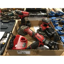 GROUP OF 4 MILWAUKEE POWER TOOLS - CORDLESS DRILL SET, GRINDER & PALM SANDER