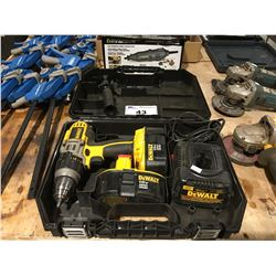 DEWALT 18V CORDLESS DRILLSET - WITH 2 BATTERIES/CHARGER & CASE