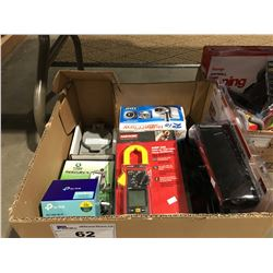 BOX OF ASSORTED TOOLS & ELECTRICAL