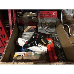 BOX OF ASSORTED TOOLS & HANDYMAN ITEMS