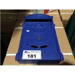 BLUE METAL MAIL BOX