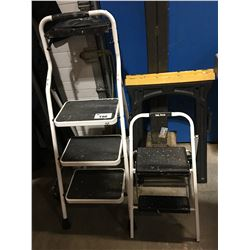 PAINTERS STEP LADDER, SMALL STEP LADDER & 2 PLASTIC SAW HORSES