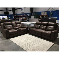 2 PC BROWN MICROFIBER UPHOLSTERED RECLINING SOFA & LOVESEAT SET