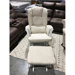 2 TONE WHITE MICROFIBER UPHOLSTERED GLIDER ROCKER WITH FOOTSTOOL