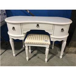 WHITE MAKE-UP TABLE WITH STOOL