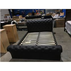 QUEEN SIZE BLACK LEATHER DIAMOND TUFTED BED - HEADBOARD, FOOTBOARD & RAILS (MISSING FEET)