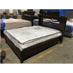 QUEEN SIZE CONTEMPORARY PANEL BED - HEADBOARD, FOOTBOARD & RAILS