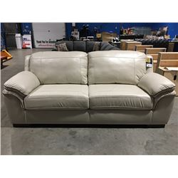 CONTEMPORARY LEATHER SOFA IVORY WITH BROWN TRIM