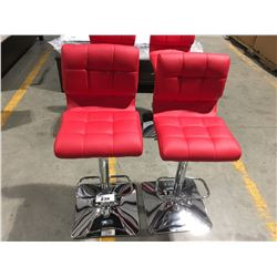 PAIR OF RED & CHROME ADJUSTABLE HEIGHT BAR STOOLS