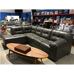 2 PC GREY LEATHER SECTIONAL SOFA SET