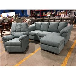 3 PC TURQUOISE MICROFIBER UPHOLSTERED SOFA LOUNGER & MATCHING RECLINER