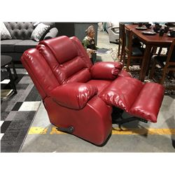 RED LEATHER UPHOLSTERED ROCKER RECLINER
