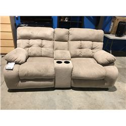 POWER RECLINING 2 SEATER SOFA WITH CENTER CONSOLE SANDY BEIGE UPHOLSTERED