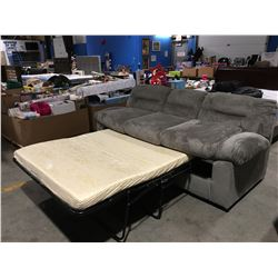 3 SEATER PULL OUT SOFA BED DUSTY OLIVE UPHOLSTERED