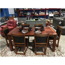 MAHOGANY DINING TABLE WITH JACK KNIFE LEAF & 6 BLACK LEATHER UPHOLSTERED CHAIRS